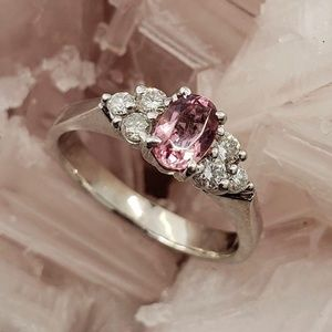 Jewelry - 1 Carat Oval Pink Topaz & Diamond Ring in 14k Gold